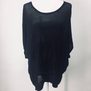 Rag & Bone Open Knit Hi-Lo Black Oversized Sweater